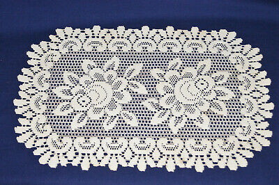 """Heritage Lace Doily - Rose Pattern - 18 3/4"""" long x 12 3/4"""" wide - Off White"""