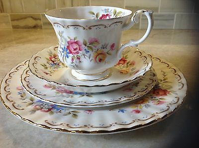 Royal Albert Jubilee Rose tea cup,saucer, salad, bread & butter plates 4pcs.set