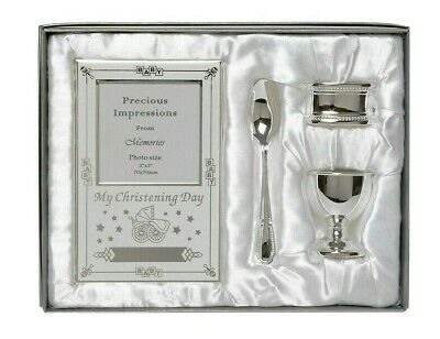 Silver Plated Christening Gift Girl Boy Baby Set 4 Piece Spoon Egg cup  Frame