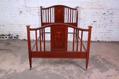 Antique English Arts & Crafts Style Inlaid Mahogany Queen or Full Size Bed Frame