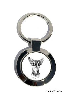 Chihuahua Smooth coat Dog Round Chrome Plated Keyring Boxed Gift