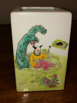Beautiful Vintage Chinese Hand Painted Famille Rose Porcelain Brush Pot Signed