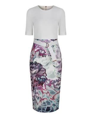 bde44a6d TED BAKER LONDON Mid Purple STEPHIE Illuminated Bloom Dress Size 3 ...