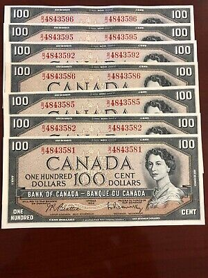 1954 Canada 100 Hundred Dollar BJ Prefix Choice Uncirculated some Sequential
