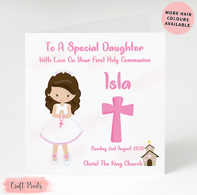 Handmade Personalised First Holy Communion Card Daughter Granddaughter Niece etc