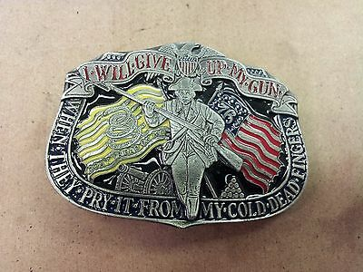 """^ Vintage Belt Buckle """"I Will Give up My Gun"""" American USA by Buckle Bakery-5"""