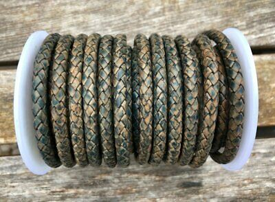 6mm Bolo Braided Leather Cord Antique Blue Genuine Quality Leather