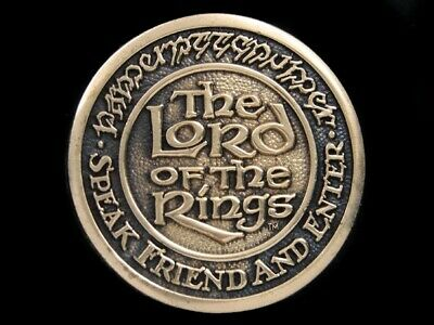 Sb03150 *Nos* Vintage 1979 **The Lord Of The Rings** Fantasy Solid Brass Buckle
