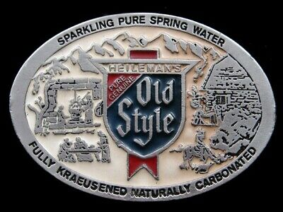 SB03139 VINTAGE 1970s **PURE GENUINE OLD STYLE** BEER ADVERTISEMENT BELT BUCKLE