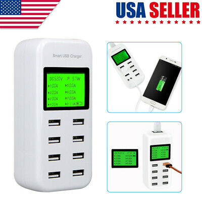 8-Port Smart Multi USB Wall Charger Hub Smart Fast Wall Charging Station LCD US