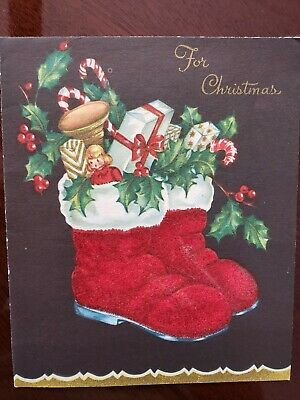 40s-Vtg Christmas Greeting Card FLOCKED Santa Claus Red Boots Doll Horn Gifts
