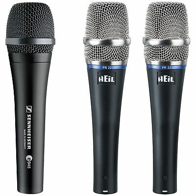 Sennheiser e945 Supercardioid Dynamic Vocal Microphone with 2x Heil PR22-UT