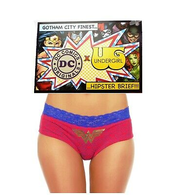 nwt Wonder Woman Super Hero DC Comics Retro Red Gold Boyshorts Hipster Panties M