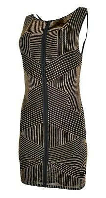 ce93883cf6 Renzo+Kai Stripe Beading Mini Sheath Dress Black Gold Size Medium New ***