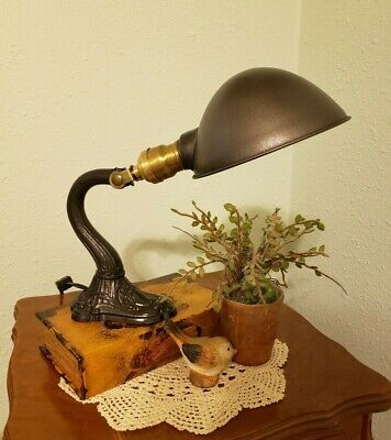 Restored 1920's Vintage Cast Iron Table or Desk Lamp with Ornate Base