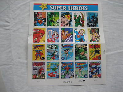 Collectible Sheet Of 20 Stamps 2005 USPS DC Comics Super Heroes 39 Cent Stamp