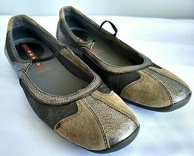 16997f0d7e2c1 Prada Silver Sand Mary Jane Ballet Flats Slip-On Loafers Size 38 8 US Made