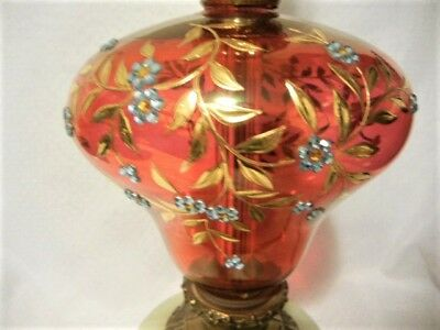 "Elegant Cranberry Glass & Brass Table Lamp 29"" Tall  West German"