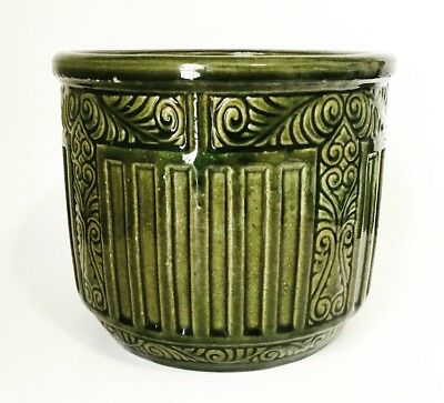 LG. ANTIQUE WELLER Green Arts & Crafts Art Nouveau Pottery Jardiniere Planter