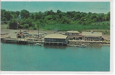 Postcard CT Connecticut Old Saybrook Dock Dine Restaurant Boat Unposted