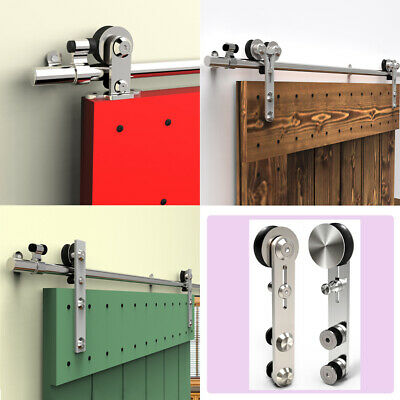 4~14FT Stainless Steel Sliding Barn Door Hardware Closet Track Kit Single/Double