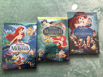 The Little Mermaid 1, 2, 3 Trilogy Bundle Set Free Shipping NEW