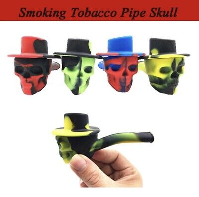 2019 Cowboy Hat Skull Silicone Tobacco Pipe With Metal Bowl & Cap
