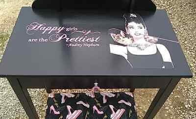 "Custom Audrey Hepburn ""Happy Girls Are The Prettiest"" Vanity Paris Glam Blk Pink"