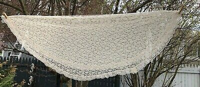 """Sheer Lace tablecloth or topper 64"""" round homemade"""