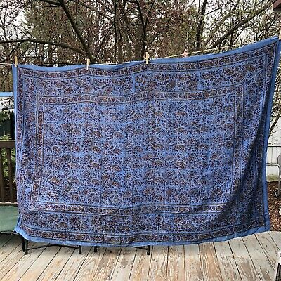"Blue Thin Paisley large tablecloth or coverlet 100"" x 132"""