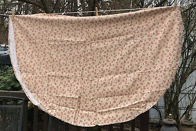 Oval Tablecloth beige pink mauve floral homemade 60 x 80