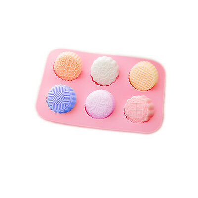 Round Mooncake Chocolate Lotion Bar Soap Jello Silicone Mold Pan 6-Cavity