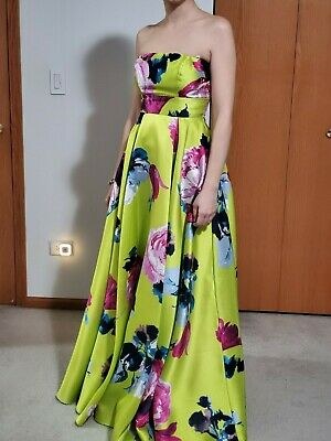 3076b7fe8 B. Darlin Strapless Floral Long Low Prom Dress Size 5 6 length 54 inches