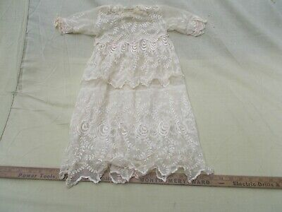 Vintage Beautiful Childs Girl Dress Or Christening Baby Gown Fancy Lace  Work
