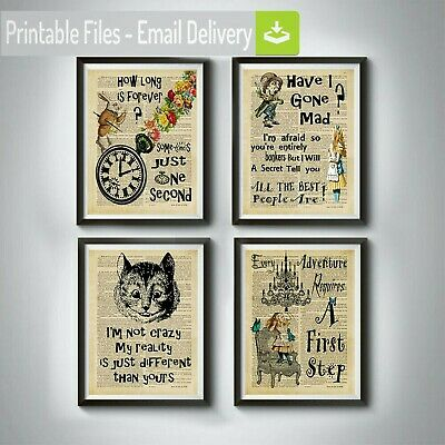 alice in wonderland,cheshire cat,white rabbit,Mad Hatter,quotes wall art Gifts