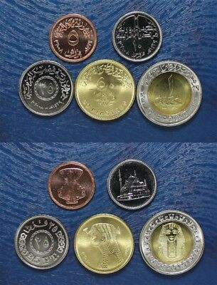 EGYPT COMPLETE COIN SET 5+10+25+50 Piastres + 1 Pound 2008 - 2018 UNC LOT of 5