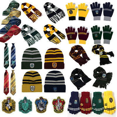 Harry Potter Gryffindor Thicken Knit Warm Scarf Cap/Hat Gloves Costume Patches