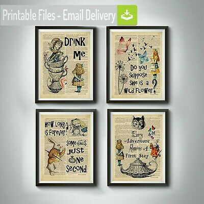 Alice in wonderland,cheshire cat,tea party,flower,Mad Hatter,quote wall art Gift