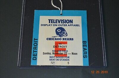 Chicago Bears Vs. Detroit Television Pass Soldier Field