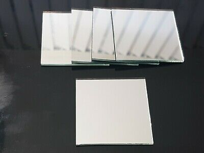 5 pieces, Silver Glass Mirror Tiles, 5 x 5 cm, 3 mm thick. Art&Craft,