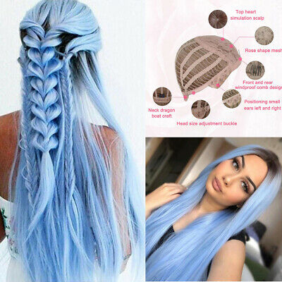 Women Gradient Sky Blue Long Straight Wig Bundles Synthetic Hair Cosplay New Wig