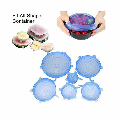 6pcs Silicone Extensible Couvercle-bol Cuisine Alimentaire Emballage Outil Pad