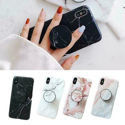 Art Marble Phone Cover Shell For iPhone XR 6S 7 8 Plus Case With POP Up Holder