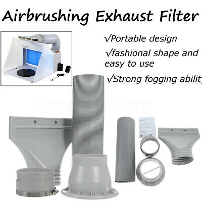 Portable Spray Booth Air Brush Extractor Hose Turntable Exhaust Filter Kit Craft
