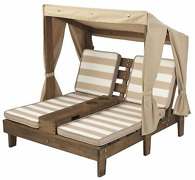 Kidkraft Double Chaise Lounger with Cup holders - Espresso & Oatmeal | Kids