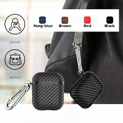 Carbon Fiber Texture Silicone Protective Case Cover For Apple AirPods Earphone