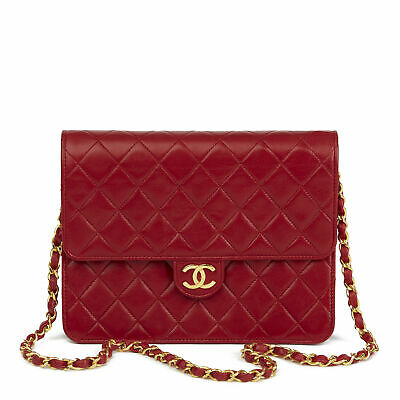 d3c92f3929b7 Chanel Red Quilted Lambskin Vintage Small Classic Single Flap Bag Hb2786
