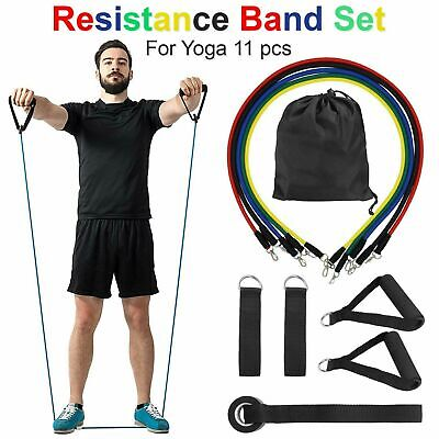 Resistance Bands Exercise Set, 5 Tubes With Handles, Door Anchor, Ankle Strap