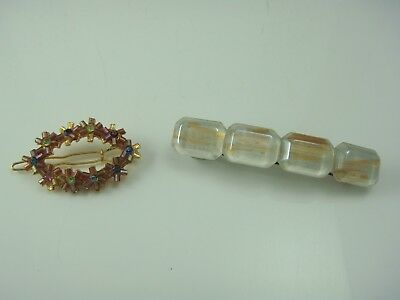 Vintage Pair Clear Gold Swirl Hair Barrette & Oval Glass Bead Flower Hair Clip
