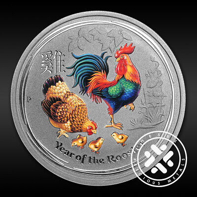2017 Australian 1/2 oz Silver Coin Year of The Rooster Colorized FREE Shipping